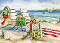 Beach Chairs, Wreath, Presents (18 cards/18 envelopes) - Boxed Christmas Cards  INSIDE: Wishing you the quiet beauty of a peaceful holiday season