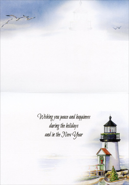 lighthouse and beach nautical christmas card by lpg greetings