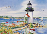 Lighthouse and Beach (1 card/1 envelope) LPG Nautical Christmas Card