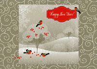 Bird on White Tree (1 card/1 envelope) - New Year Card - FRONT: Happy New Year!  INSIDE: Best Wishes for a New Year filled with Peace and Promise