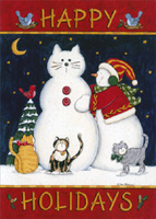 Happy Holidays Snowcat (18 cards/18 envelopes) - Boxed Christmas Cards - FRONT: Happy Holidays  INSIDE: Caring, sharing, loving, laughing� Wishing you holidays filled with everything and everyone you love.