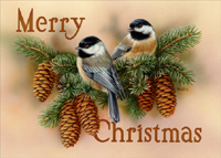 Chickadee Vignette (1 card/1 envelope) LPG Bird Christmas Card