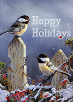 Sunny Chickadees in Winter (1 card/1 envelope) LPG Bird Christmas Card