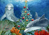 Christmas Dolphins (1 card/1 envelope) - Christmas Card  INSIDE: Warm Wishes for Happy Holidays!