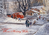 Fireman Watering Skating Pond (18 cards/18 envelopes) - Boxed Christmas Cards - FRONT: Warm Holiday Wishes  INSIDE: May happy moments and joyful memories make your holiday season special this year.