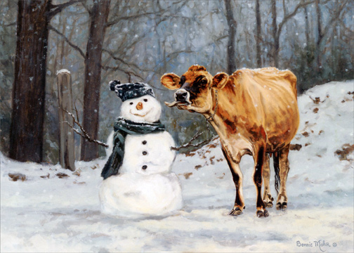 Cow And Snowman Box Of 18 Christmas Cards By Lpg Greetings