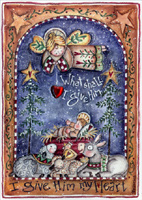 Gem Heart Angel and Baby Jesus (12 cards/12 envelopes) - Boxed Christmas Cards - FRONT: What shall I give Him? I give Him my Heart  INSIDE: May the gifts you give this year bring happiness to you and to those you love.