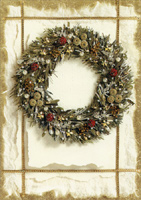 Deluxe Glitter Wreath (14 cards/14 envelopes) - Boxed Christmas Cards  INSIDE: Wishing you a beautiful holiday season and a wonderful New Year!