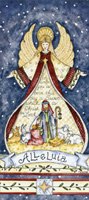 Alleluia Angel Nativity (14 cards / 14 envelopes) - Boxed Christmas Cards - FRONT: For unto us is born this day a Savior which is Christ the Lord Alleluia  INSIDE: May the miracle of Christmas bring you the blessings of peace, hope and love.