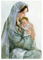 Mary Kissing Baby Jesus Die Cut (1 card/1 envelope) LPG Religious Christmas Card