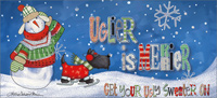 Ugly Sweater: Long Format with Glitter (14 cards/14 envelopes) LPG Julie Dobson Miner Boxed Christmas Cards