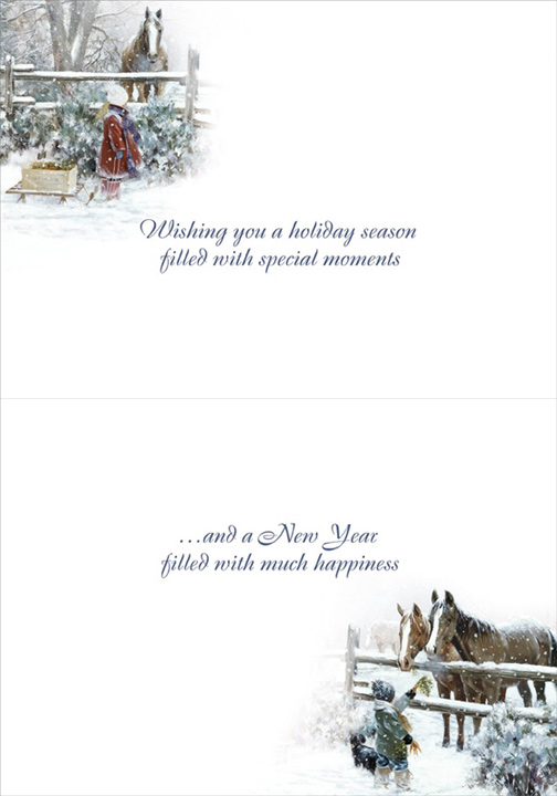 Boy And Girl Feeding Horses DR Laird Country Christmas Card By LPG Greetings