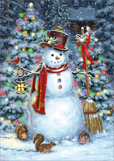 woodland snowman and friends liz goodrick dillon nature christmas card by lpg greetings