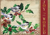 Woodland Chickadees with Holly (16 cards/16 envelopes) LPG Shawn D Jenkins Boxed Christmas Cards