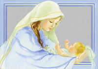 Mary Holding Jesus with Silver Foil: Helen Kunic (14 cards/14 envelopes) LPG Religious Boxed Christmas Cards