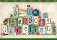 Season's Greeting with Tip On Blocks: Handcrafted (1 card/1 envelope) LPG Shawn D Jenkins Christmas Card