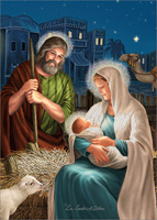 Jesus, Mary and Joseph Die Cut with Glitter Box of 12 Christmas Cards