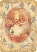 Santa Holding Ornament Die Cut Window with Glitter Box of 12 Christmas Cards