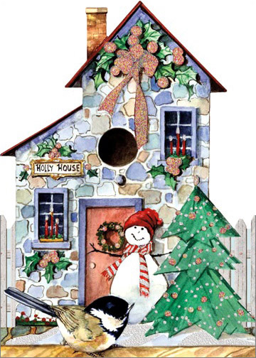 Holly House Die Cut with Glitter Carolyn Ss Wright Christmas ... on orchid house design, nativity house design, aster house design, brittany house design, pigeon house design, bamboo house design,