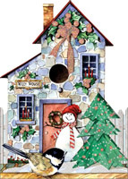 Holly House Die Cut with Glitter (12 cards/12 envelopes) LPG Carolyn Shores Wright Boxed Christmas Cards