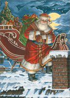 Santa at Chimney Die Cut with Glitter Christmas Card