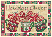 3 Coffee Cups with Glitter Accents Christmas Card