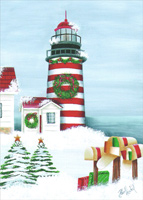 Striped Lighthouse and Mailboxes (1 card/1 envelope) LPG Debby Forshey Choma Coastal Christmas Card