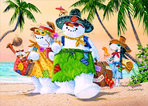 Tropical Christmas.Details About Snowman Family On Beach Box Of 18 Warm Weather Tropical Christmas Cards