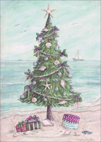 Beach Tree: Kate McRostie Box of 18 Christmas Cards