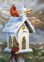 Cardinals and Church Birdhouse: Victoria Wilson-Schultz Box of 18 Christmas Cards
