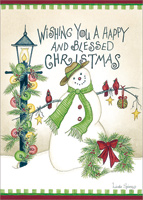 A Happy and Blessed Christmas: Linda Spivey (1 card/1 envelope) LPG Snowman Christmas Card