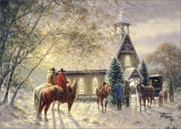 Cowboys Outside Church: Jack Terry (1 card/1 envelope) LPG Western Christmas Card