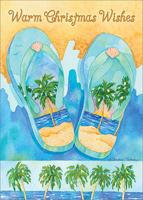 Palm Tree Flip Flops: Andrea Tachiera (1 card/1 envelope) LPG Warm Weather / Tropical Christmas Card