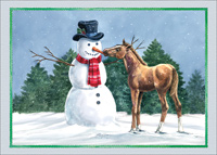 Friendly Foal and Snowman: Barbara Gibson (1 card/1 envelope) LPG Christmas Card