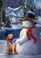 A Christmas Gift: Thomas Wood (1 card/1 envelope) LPG Snowman Christmas Card
