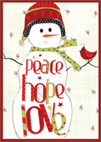 Peace Love Hope Snowman: Amylee Weeks (1 card/1 envelope) LPG Christmas Card
