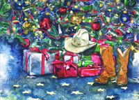 Cowboy Hat and Boots under Tree: Karen Rae (18 cards/18 envelopes) LPG Western Boxed Christmas Cards
