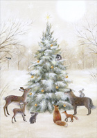 Animals Decorating the Tree Christmas Card