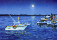Holiday Boat Deluxe Glitter Christmas Card