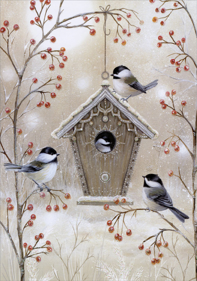 Image result for chickadee christmas card