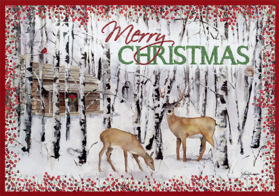 deer and birches box of 14 barb tourtillotte deluxe glitter wildlife christmas cards - Deluxe Christmas Cards