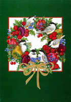 Birds and Fruit Wreath Embossed Foil Box of 14 Christmas Cards