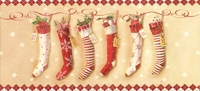 Fair Isle Inspired Stockings Long Format Christmas Card