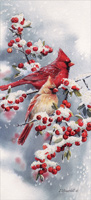 Winter Jewels Cardinals Tall Format Christmas Card