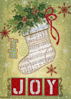 Joy Christmas Stocking Cutout Christmas Card
