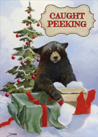 Caught Peeking Bear Christmas Card