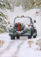 Pickup Truck with Wreath Christmas Card