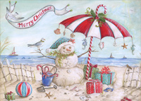 Beach Snowman Box of 18 Christmas Cards