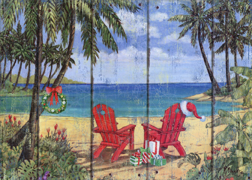 Two Red Adirondack Chairs On Beach: Box Of 18 Paul Brent Tropical Christmas  Cards