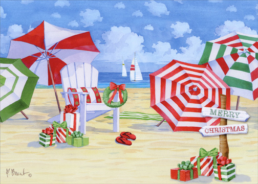 Beach Christmas Cards >> Holiday Umbrella Beach Box Of 18 Paul Brent Warm Weather Christmas